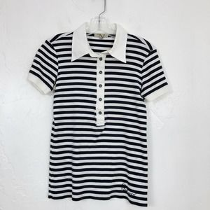 Burberry Navy & White Striped Collared Polo Shirt